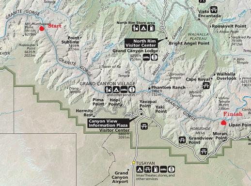 Grand Canyon Throughrun Miles On The Tonto Trail - Map how far i ran